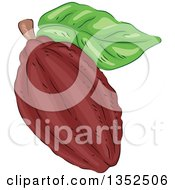 Clipart Of A Sketched Cocoa Bean And Leaf Royalty Free Vector Illustration