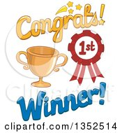 Clipart Of A Congrats First Place Winner Design With A Trophy And Award Ribbon Royalty Free Vector Illustration