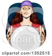 Clipart Of A Gypsy Fortune Teller Over A Crystal Ball Royalty Free Vector Illustration by BNP Design Studio