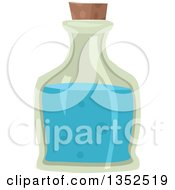 Clipart Of A Bottle With A Blue Potion Royalty Free Vector Illustration