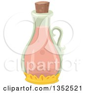 Clipart Of A Bottle With A Pink Potion Royalty Free Vector Illustration