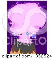 Clipart Of A Witch Cauldron With Potion Bottles Pouring And A Purple Cloud Royalty Free Vector Illustration