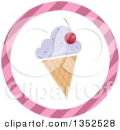 Clipart Of A Round Ice Cream Cone And Pink Stripe Icon Button Royalty Free Vector Illustration