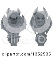 Clipart Of Perched Stone Gargoyle Statues Royalty Free Vector Illustration by BNP Design Studio