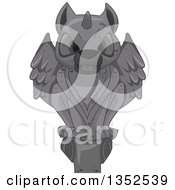 Clipart Of A Perched Stone Gargoyle Statue Royalty Free Vector Illustration by BNP Design Studio