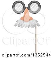 Clipart Of A Photo Booth Prop Glasses Nose And Mustache Eye Mask Royalty Free Vector Illustration