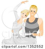 Blond Caucasian Ballet Couple Dancing