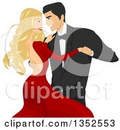 Clipart Of A Romantic Happy Caucasian Couple Ballroom Dancing And Locking Eyes Royalty Free Vector Illustration by BNP Design Studio