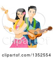 Clipart Of A Hawaiian Dancer And Man Playing A Ukulele Royalty Free Vector Illustration