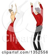 Clipart Of A Sketched Ballroom Dancing Caucasian Couple In Red And Black Royalty Free Vector Illustration