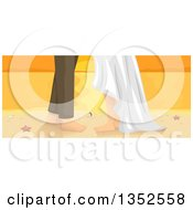 Clipart Of A Wedding Couple With Bare Feet On A Beach At Sunset Royalty Free Vector Illustration