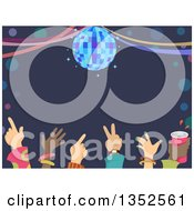 Clipart Of A Row Of Hands Of Dancers Under A Disco Ball And Text Space Royalty Free Vector Illustration