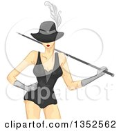 Clipart Of A Painted Styled Burlesque Dancer Posing Royalty Free Vector Illustration