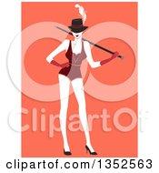 Clipart Of A Burlesque Dancer Posing Over Orange Royalty Free Vector Illustration
