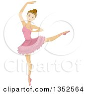 Clipart Of A Teenage Caucasian Ballerina Dancing Royalty Free Vector Illustration by BNP Design Studio
