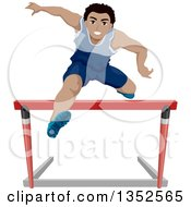 Athletic Black Teenage Boy Leaping Hurdles