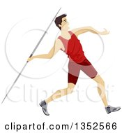 Clipart Of An Athletic White Teenage Boy Throwing A Javelin Royalty Free Vector Illustration