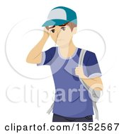 Clipart Of A Young White Male Student Worrying Royalty Free Vector Illustration