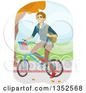 Clipart Of A Happy Blond Caucasian Man Riding His Bike To School Royalty Free Vector Illustration