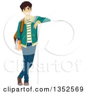 Happy Caucasian Male Student Leaning Against A Sign Board