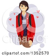 Clipart Of A Dreamy Brunette Male Teenager With Hearts Royalty Free Vector Illustration by BNP Design Studio