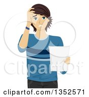 Clipart Of A Worried Caucasian Male Student Holding A Document Royalty Free Vector Illustration