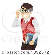Clipart Of A Brunette Caucasian Male High School Student Touching His Glasses Royalty Free Vector Illustration by BNP Design Studio
