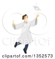 Clipart Of A Brunette Caucasian Male High School Student Graduate Jumping And Tossing His Cap Royalty Free Vector Illustration by BNP Design Studio