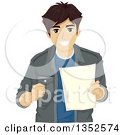 Clipart Of A Brunette Caucasian Male High School Student Smiling And Holding A Document Royalty Free Vector Illustration by BNP Design Studio