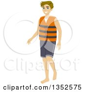 Clipart Of A Blond Caucasian Man Wearing A Life Jacket Royalty Free Vector Illustration