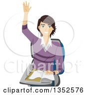 Clipart Of A Brunette Caucasian Male High School Student Raising His Hand Royalty Free Vector Illustration by BNP Design Studio