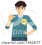 Clipart Of A Brunette Caucasian Male High School Student Wanting Votes Royalty Free Vector Illustration