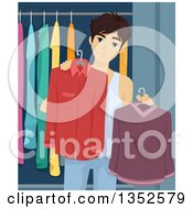 Clipart Of A Brunette Caucasian Male High School Student Trying To Decide What To Wear Royalty Free Vector Illustration by BNP Design Studio