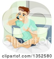 Clipart Of A Brunette Caucasian Teenage Guy Talking On A Cell Phone On His Bed Royalty Free Vector Illustration