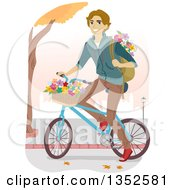 Clipart Of A Brunette Caucasian Male High School Student Riding A Bike With Flowers Royalty Free Vector Illustration