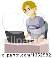 Clipart Of A Blond Caucasian Male High School Student Using A Laptop Royalty Free Vector Illustration