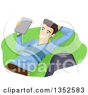 Clipart Of A Brunette Caucasian Male High School Student Wearing Headphones And Using A Laptop Outdoors Royalty Free Vector Illustration