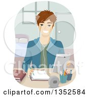 Clipart Of A Brunette Caucasian Male High School Student Studying With A Tablet Royalty Free Vector Illustration