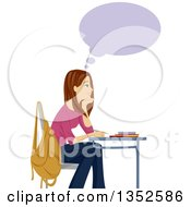 Clipart Of A Brunette Caucasian Teenage Girl Thinking And Smiling At Her Desk Royalty Free Vector Illustration by BNP Design Studio