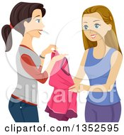 Brunette Caucasian Teenage Girl Loaning A Dress To Her Friend