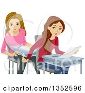 Clipart Of Caucasian Teenage Girls Cheating On A Test Royalty Free Vector Illustration