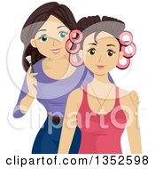 Brunette Caucasian Teenage Girl Giving A Friend A Makeover