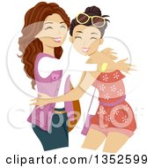 Clipart Of Brunette Caucasian Teenage Girls Hugging Royalty Free Vector Illustration