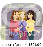 Clipart Of Caucasian Teenage Girls Going To The Movies Royalty Free Vector Illustration by BNP Design Studio