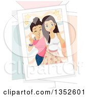 Brunette Caucasian Teenage Girls Taking A Selfie