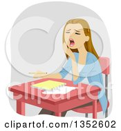 Clipart Of A Dirty Blond Caucasian Teenage Girl Yawning At Her Desk Royalty Free Vector Illustration