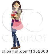 Clipart Of A Brunette Caucasian Teenage Girl Holding Books And Leaning Against A Sign Royalty Free Vector Illustration