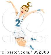 Clipart Of A Dirty Blond Caucasian Teenage Girl Athlete Jumping Royalty Free Vector Illustration