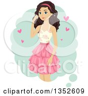 Clipart Of A Brunette Caucasian Teenage Girl With Hearts Royalty Free Vector Illustration