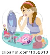 Clipart Of A Brunette Caucasian Teenage Girl Putting On Makeup Royalty Free Vector Illustration